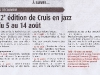 Cruis en Jazz - Article HPI du 5 août 2011