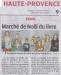 3ème Marché de Noël du livre pour enfants - Article La Provence  du 7 décembre