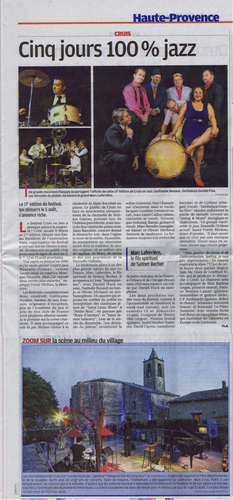Article La Provence 2 août 2016